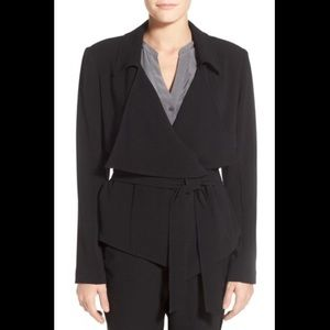 Vince Camuto Petite Belted Drape Front Jacket - 0P
